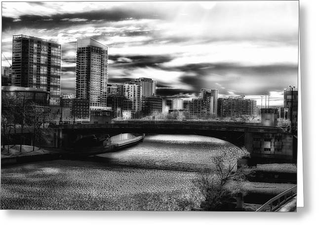 Chicago In November Chicago River South Branch Bw Greeting Card by Thomas Woolworth