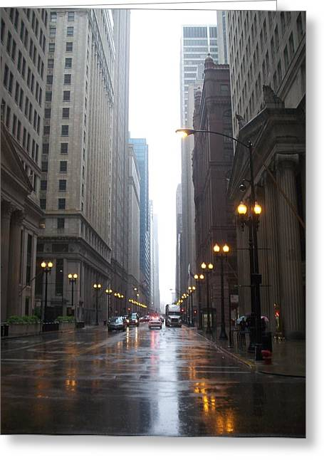 Chicago In The Rain 2 Greeting Card by Anita Burgermeister