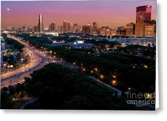 Chicago Independence Day At Night Greeting Card