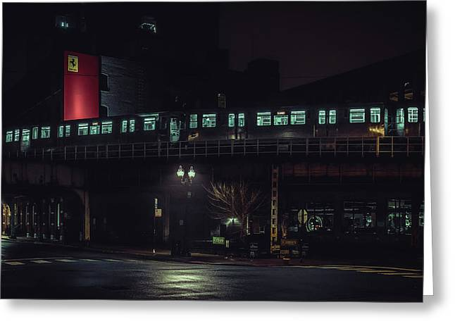 Chicago L At Night Greeting Card