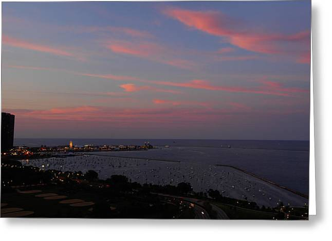 Chicago Lakefront At Sunset Greeting Card