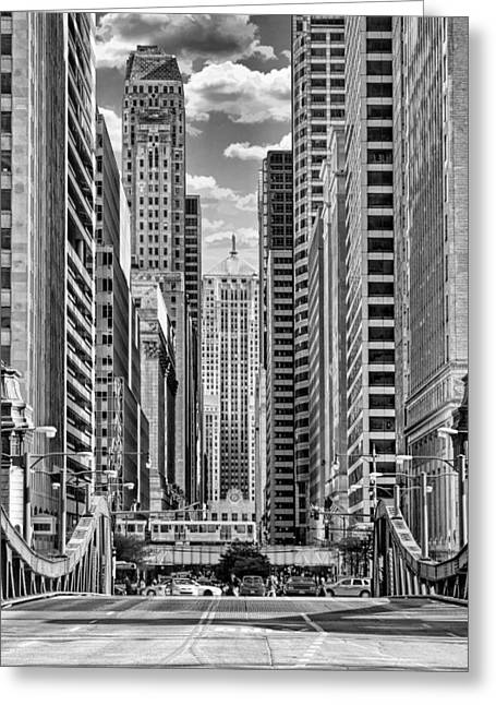 Chicago Lasalle Street Black And White Greeting Card