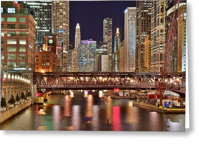 Chicago Late Night Lights Greeting Card by Frozen in Time Fine Art Photography