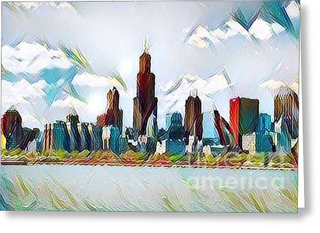 Chicago Lights Greeting Card by Douglas Sacha