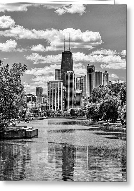 Chicago Lincoln Park Lagoon Black And White Greeting Card
