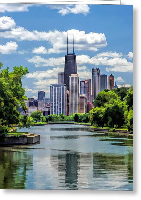 Greeting Card featuring the painting Chicago Lincoln Park Lagoon by Christopher Arndt