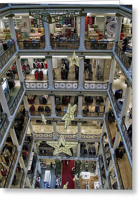 Chicago Macys Department Store In November Vertical Greeting Card by Thomas Woolworth