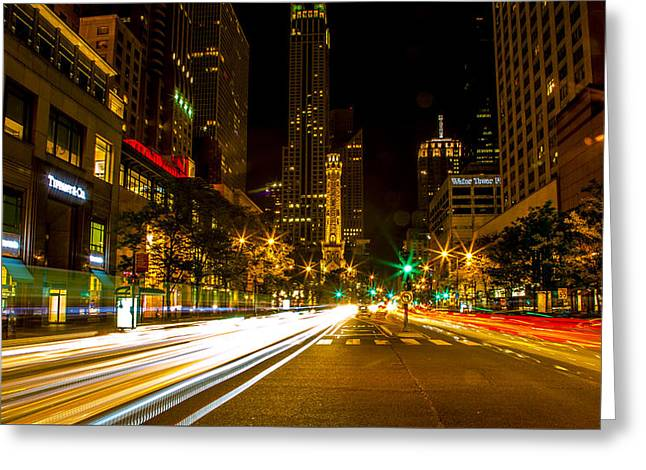 Chicago Magnificent Mile At Night Greeting Card