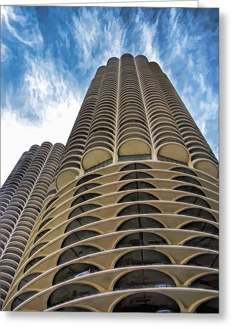Greeting Card featuring the painting Chicago Marina Towers by Christopher Arndt