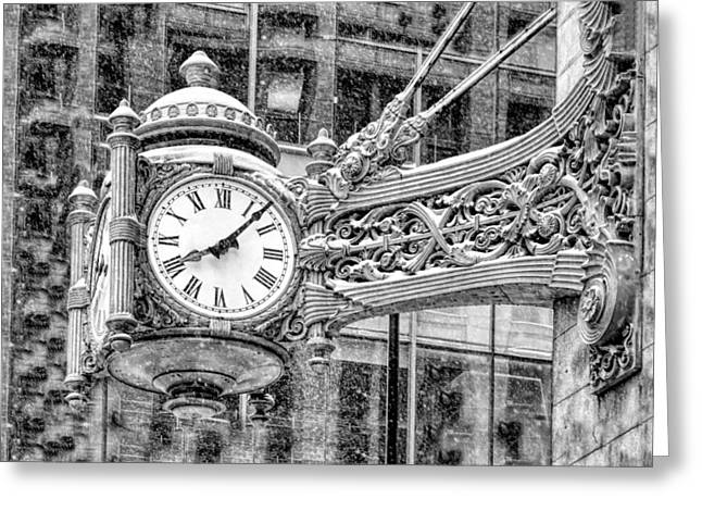 Chicago Marshall Field State Street Clock Black And White Greeting Card