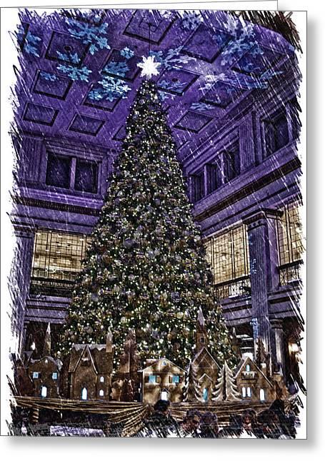 Chicago Marshall Fields Macys Walnut Room Xmas Tree Pa Greeting Card by Thomas Woolworth