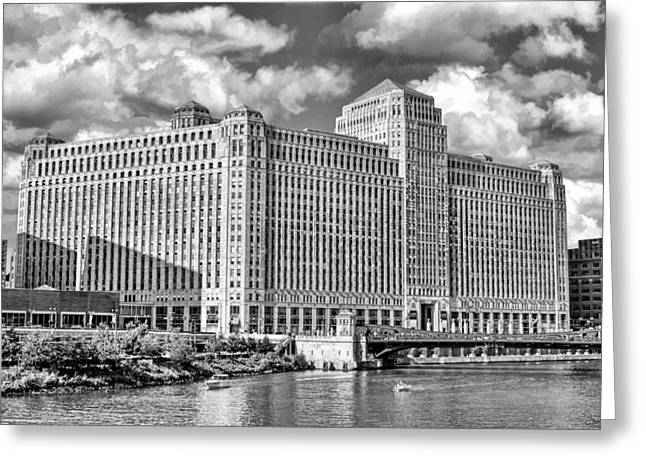 Greeting Card featuring the photograph Chicago Merchandise Mart Black And White by Christopher Arndt