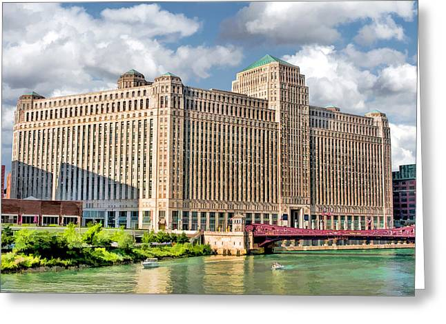 Greeting Card featuring the painting Chicago Merchandise Mart by Christopher Arndt