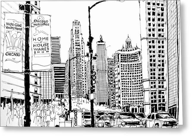 Chicago Michigan Avenue  Greeting Card