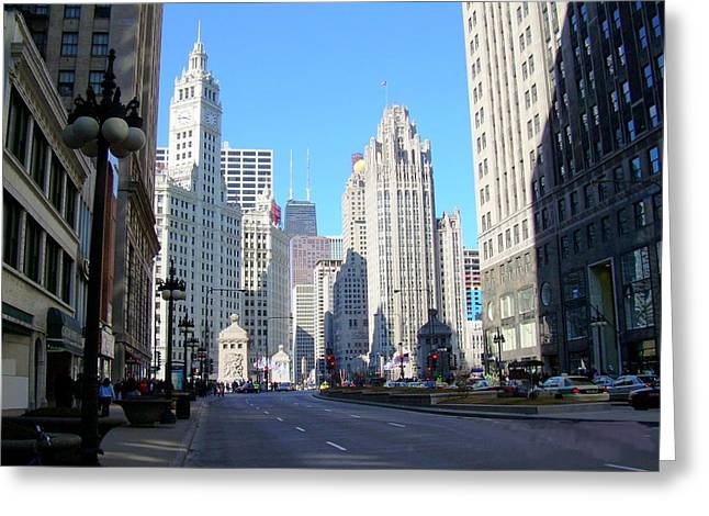 Chicago Miracle Mile Greeting Card by Anita Burgermeister