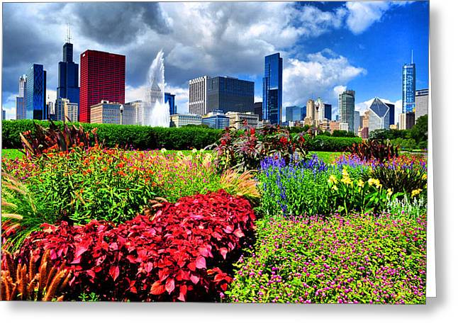 Chicago N Flowers Greeting Card