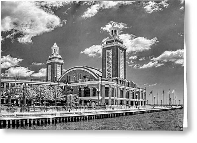 Chicago Navy Pier Black And White Greeting Card