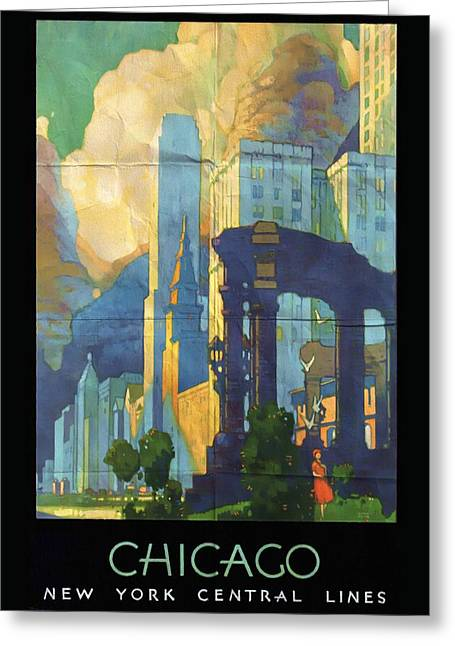 Chicago - New York Central Lines - Vintage Poster Folded Greeting Card