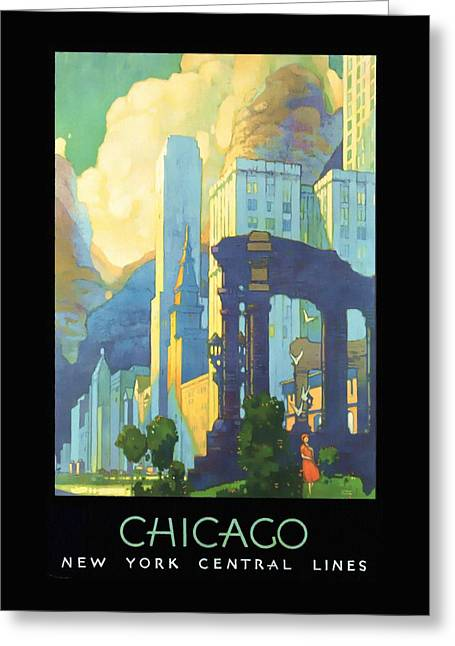 Chicago - New York Central Lines - Vintage Poster Restored Greeting Card