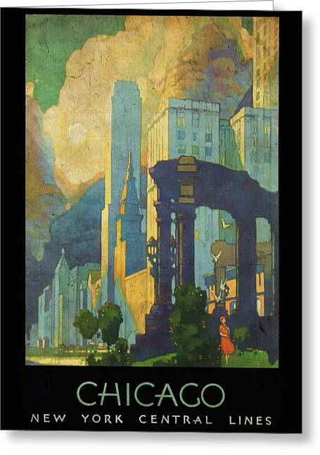 Chicago - New York Central Lines - Vintage Poster Vintagelized Greeting Card
