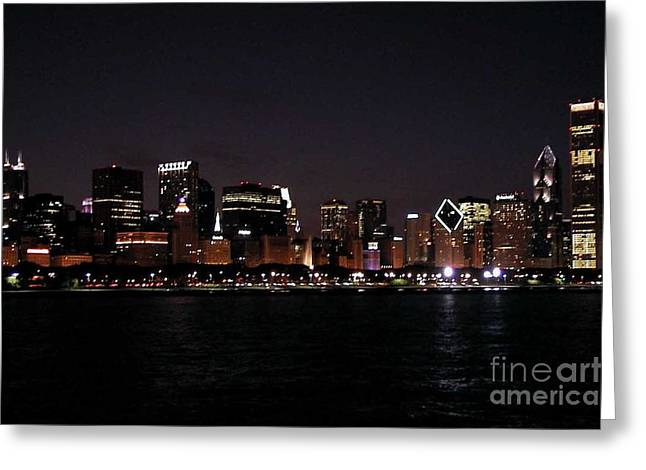 Chicago Night Greeting Card by Cathy Weaver