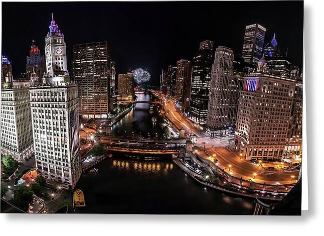 Chicago Night Live - Pano Greeting Card