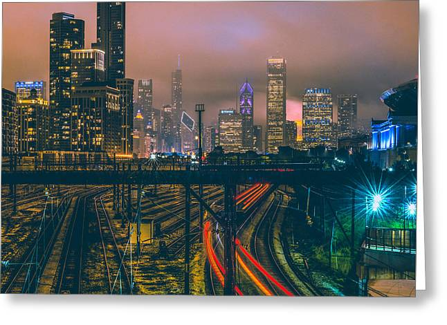 Chicago Night Skyline  Greeting Card by Cory Dewald