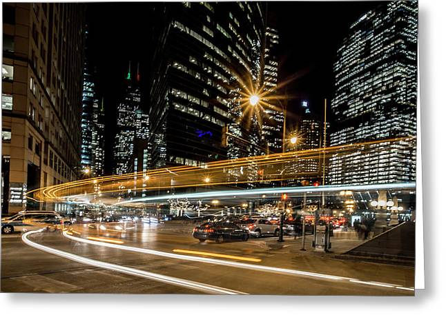 Chicago Nighttime Time Exposure Greeting Card