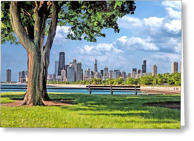 Greeting Card featuring the painting Chicago North Skyline Park by Christopher Arndt