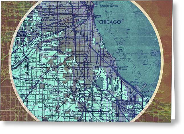 Chicago Old Map On Circle Greeting Card