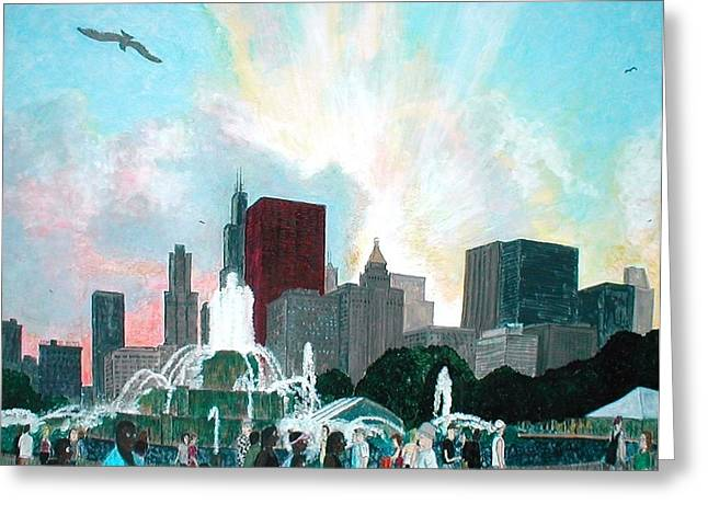 Chicago On The Fourth Greeting Card by Jacob Stempky