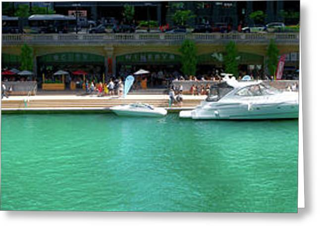 Chicago Parked On The River Walk Panorama 01 Greeting Card by Thomas Woolworth