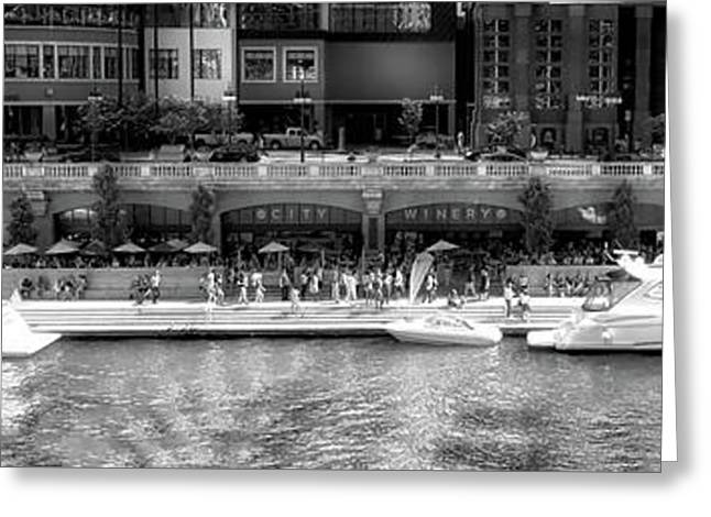 Chicago Parked On The River Walk Panorama 02 Bw Greeting Card by Thomas Woolworth