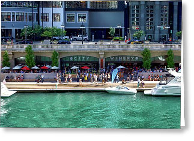 Chicago Parked On The River Walk Panorama 02 Greeting Card by Thomas Woolworth
