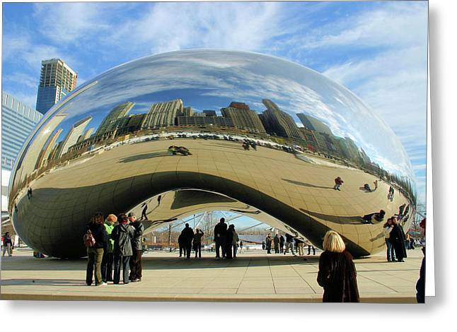 The Bean Greeting Cards - Chicago Reflected Greeting Card by Kristin Elmquist