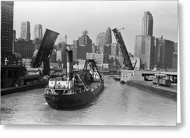 Chicago River 1941 Greeting Card by Daniel Hagerman