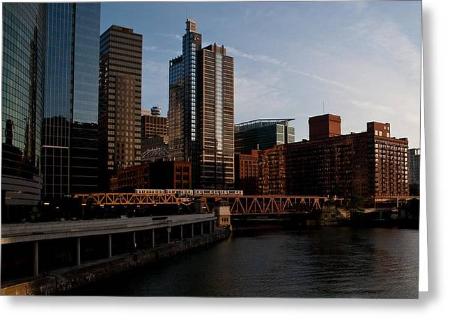 Chicago River And Downtown Greeting Card