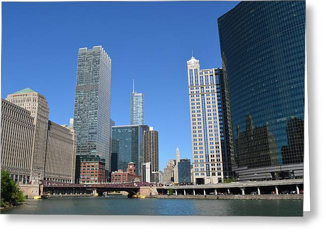 Chicago River At Franklin Street Bridge Greeting Card by Richard Andrews