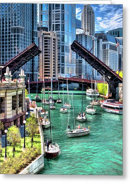 Chicago River Boat Migration Greeting Card by Christopher Arndt