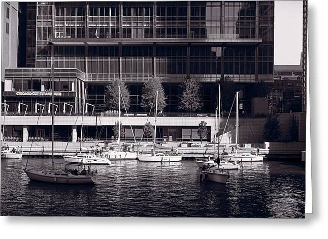 Chicago Black White Greeting Cards - Chicago River Boats BW Greeting Card by Steve Gadomski
