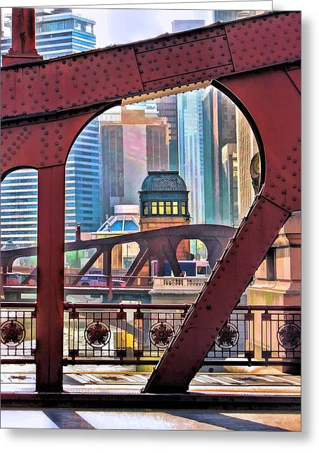 Chicago River Bridge Framed Greeting Card