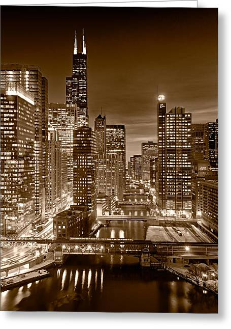 Chicago River City View B And W Greeting Card by Steve gadomski