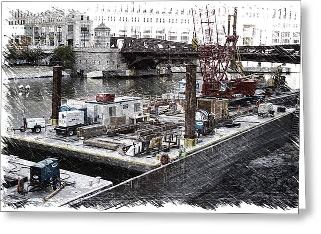 Chicago River Construction Barge Pa 04 Greeting Card by Thomas Woolworth