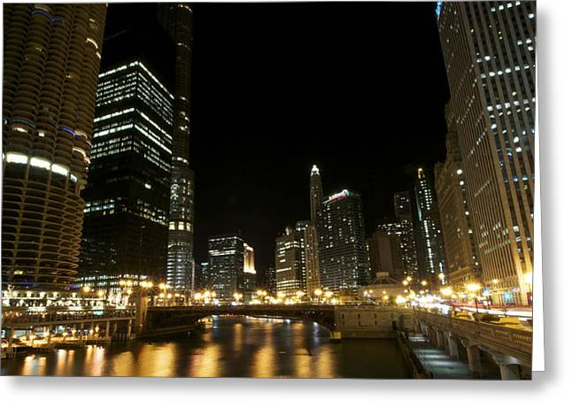 Chicago River Nights Greeting Card