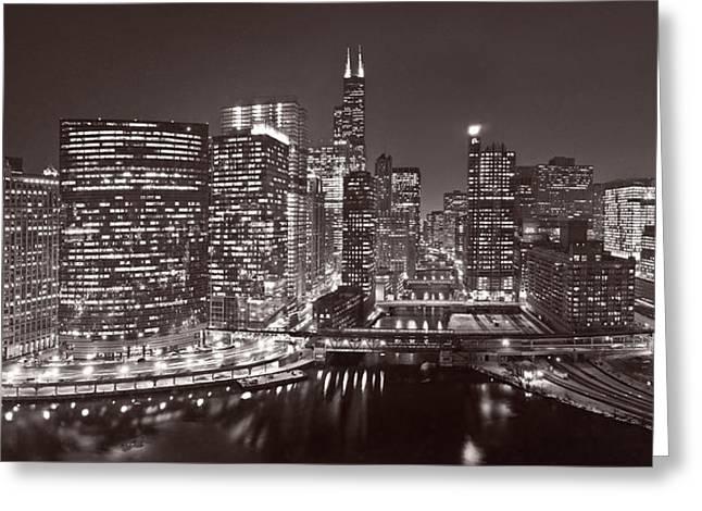 Chicago River Panorama B W Greeting Card by Steve Gadomski