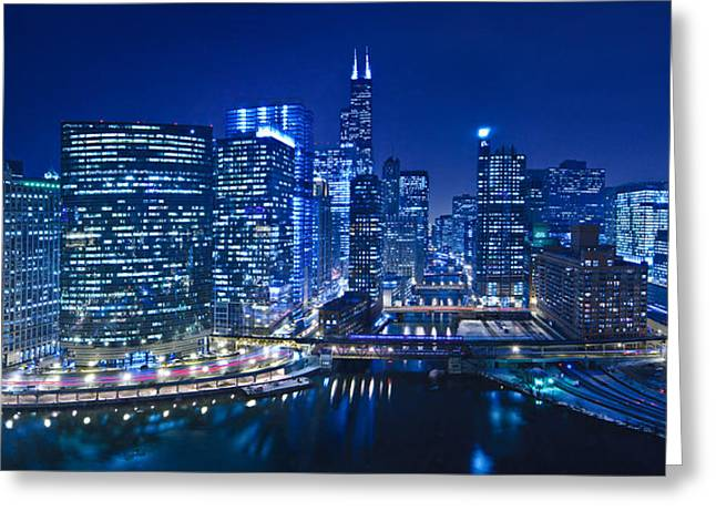 Chicago River Panorama Greeting Card by Steve Gadomski
