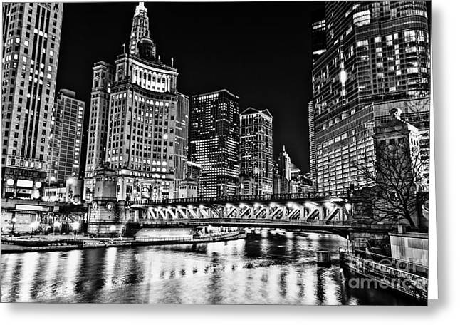 Chicago River Skyline At Night Picture Greeting Card by Paul Velgos