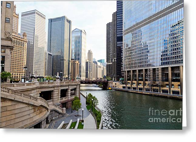 Chicago River Skyline Building Architecture Greeting Card by Paul Velgos
