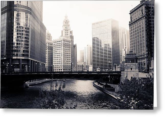 Foggy Bridge Greeting Cards - Chicago River Skyline Greeting Card by Paul Velgos