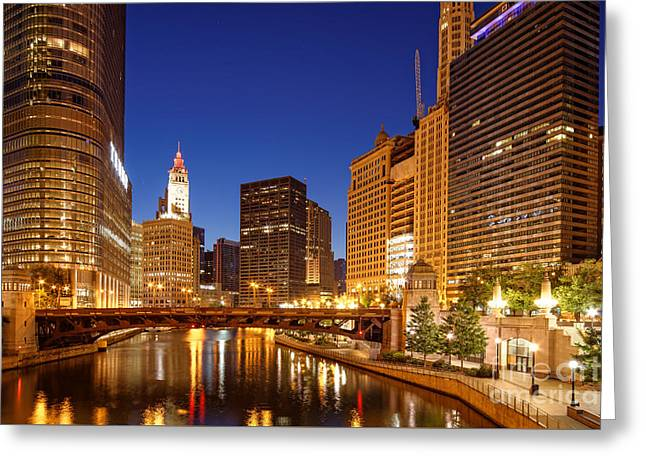 Chicago River Trump Tower And Wrigley Building At Dawn - Chicago Illinois Greeting Card by Silvio Ligutti